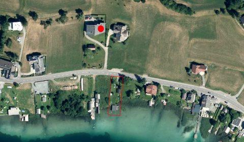 AERIAL VIEW OF Haus Sonnbichl AND BATHING BEACH
